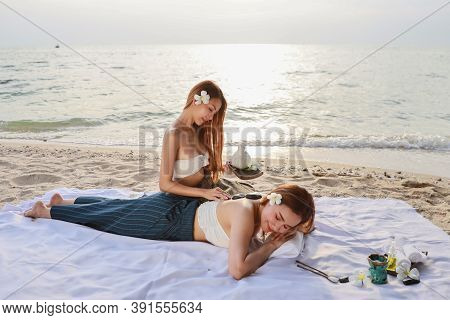 Shoulder Massage, Portrait Of Two Young Beautiful And Sexy Asian Women, Long Hair With White Dress E
