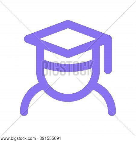 Graduating Student Icon Illustration. College Student With Graduation Cap For Education Concept.