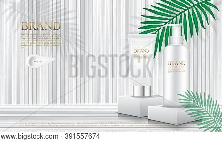 Cosmetics Packaging On Podium With White  Slat And Leaf Background