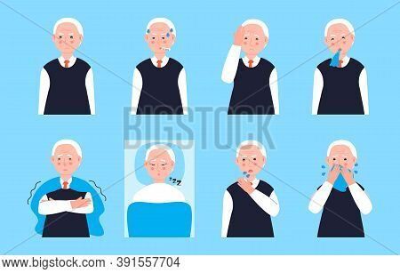 Sick Old Man Coughing, Sneezing. Set Senior Vector Of Cold, Flu, Sore Throat, Measles. Illustrations