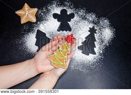 Women Hands Hold Gingerbread Cookie In The Shape Of A Christmas Tree Covered With Icing Sugar. Fresh