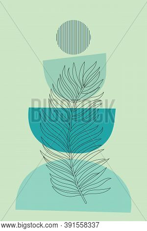 Abstract Shapes And Leaves Wall Decoration Design. Modern Botanical Line Art Vector Illustration. Tr