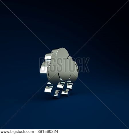 Silver Cloud With Rain Icon Isolated On Blue Background. Rain Cloud Precipitation With Rain Drops. M