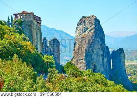 Rocks in Meteora and Rousanou nunnery on the top. Colorful greek landscape