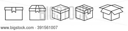 Outline Container Box. Isolated Delivery Package Set. Cardboard In Black Simple Design. Open And Clo