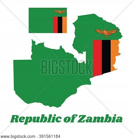 Map Outline And Flag Of Zambia, A Green Field With An Orange Colored Eagle In Flight Over A Rectangu