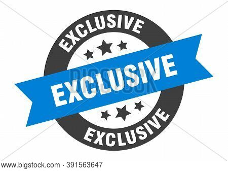 Exclusive Sign. Exclusive Blue-black Round Ribbon Sticker