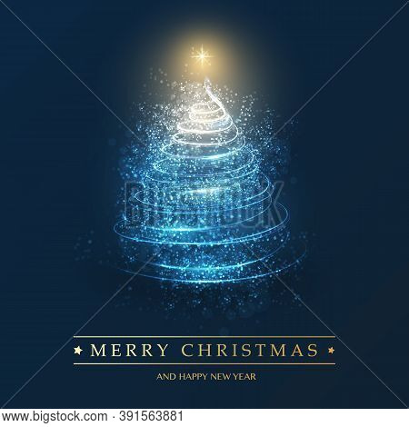 Merry Christmas, Happy Holidays Card - Christmas Tree Shape Made From Bright Spiralling Light On A D
