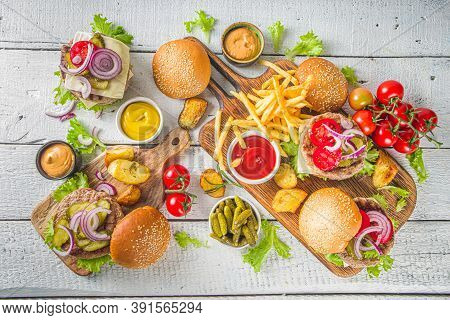 Bbq With Hamburgers And French Fries