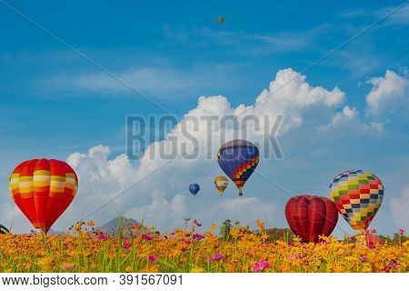 Colorful Hot Air Balloon Flying At The Natural Park And Garden. Outdoor Activity And Travel In Thail