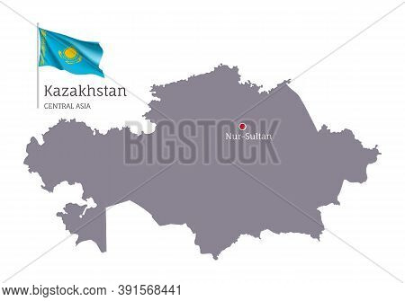 Silhouette Of Kazakhstan Country Map. Gray Editable Map Of Kazakhstan With Waving National Flag, Nur
