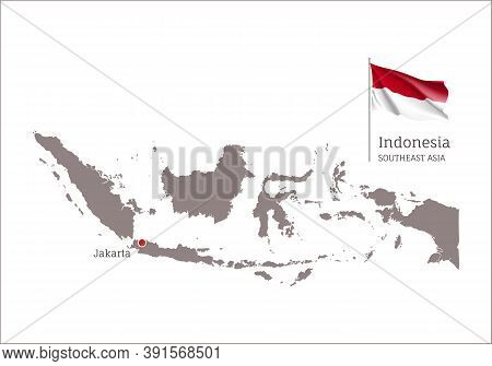 Silhouette Of Indonesia Country Map. Highly Detailed Gray Map And National Flag And Jakarta Capital,
