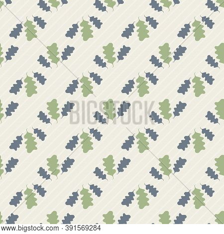 Pairs Of Green Oak Leaves Seamless Diagonal Vector Pattern Background. Forest Foliage Silhouettes On