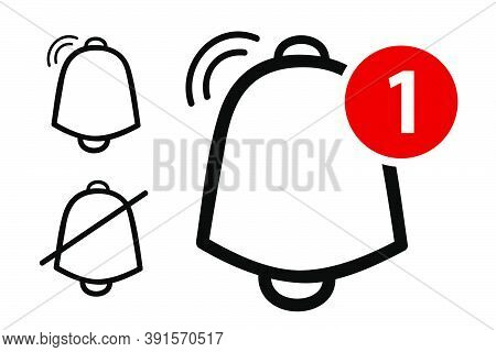 Vector Outline, Icon Or Logo, Bell, Ring, Alert, Notification, Isolated On White.