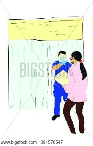 Vector Hand Draw Sketch, Queues People, Body Temperature Check Before Entering Desinfectant Chamber,