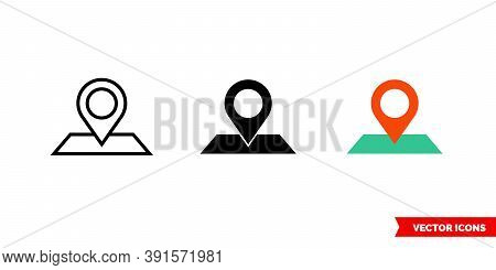 Address Icon Of 3 Types Color, Black And White, Outline. Isolated Vector Sign Symbol.
