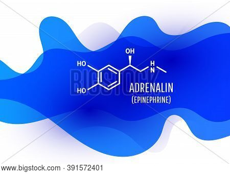 Adrenalin Chemical Formula With Liquid Fluid Shapes On White Background. Vector Illustration