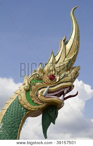 Thai dragon on blue sky in thailand poster