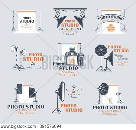 Set Of Vintage Photo Studio Labels. Templates For The Design Of Logos And Emblems. Collection Of Pho