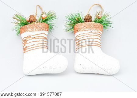 Christmas Tree Toys, Magic Felt Boots, Decorated With Gold With Christmas Tree Branches, On A White
