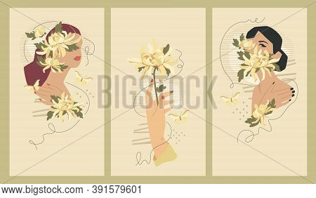 Feminine Cover Templates For Social Media Stories, 1080 X 1920 Px Each. Vector Fashion Illustration.
