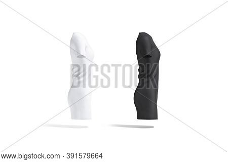 Blank Black And White Cloth Dress Mockup Set, Side View, 3d Rendering. Empty Midi Gown Or Long T-shi