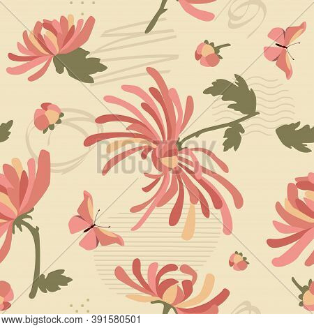 Pink Chrysanthemums Seamless Pattern With Abstrct Elements. Textile And Surface Design. Vector Fashi