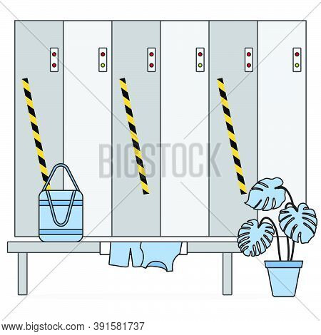 Vector Illustration Locker Room With Safe Lockers In Sports Club, Fitness Center New Normal After Co