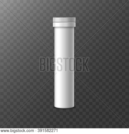 Realistic 3d Vector Illustration Of A White Plastic Tube Of Fizzy Pills.