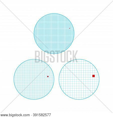 Three Circles With Blue Squares Grid. Dots Per Inch Illustration Or Pixel Per Inch Wallpaper. One Pi