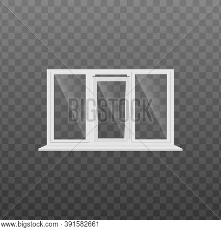 Window Frame With Window Sill Realistic Temalate Of Vector Illustration Isolated.