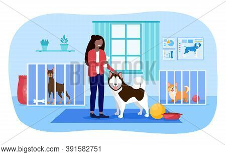 The Concept Of Love For Animals. A Girl Chooses A Dog At A Dog Shelter. Flat Cartoon Vector Illustra