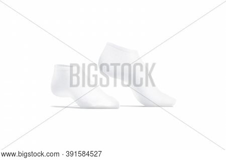 Blank White Low Cut Socks Pair Mockup Tiptoe, Side View, 3d Rendering. Empty Cotton Ped Underwear Mo