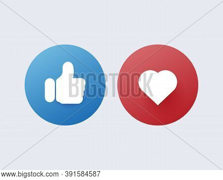 Like And Dislike. Red Disapproval And Green Success Positive And Negative Reviews From Satisfied Cus