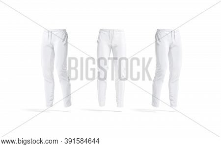Blank White Sport Pants Mockup, Front And Side View, 3d Rendering. Empty Athletic Trackpants For Spo