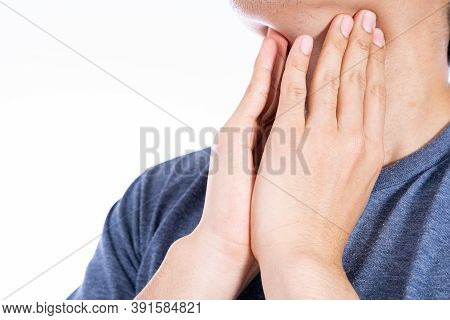 Male Hand Touching Thyroid Nodule. Medical, Healthcare For Advertising Concept.