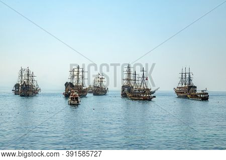 Alanya, Turkey - 28 Aug, 2020: Sea With Multiple Cruise Ships Styled With Pirate Theme Came Out For