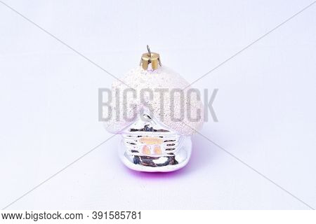 Toys For Christmas Tree, Glass Decoration, Hut, Fairy, Roof In Snow, On A White Background