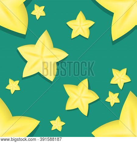 Carambola Seamless Pattern. Endless Vector Tropical Fruit Background.
