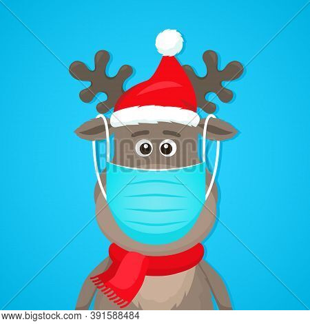 Funny Character Of A Polar Deer In A Medical Mask. Covid 19 Prevention Concept. Staying At Home For
