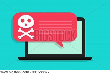 Spam, Scam Virus On Computer. Alert About Malware Virus In Laptop Screen. Icon Of Fraud, Ransomware,
