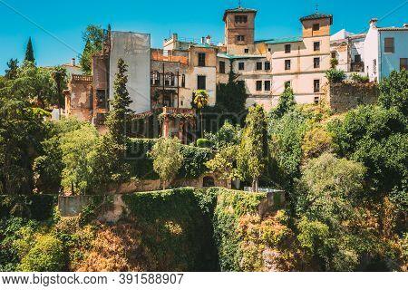 Ronda, Spain. Palacio Del Rey Moro And Hanging Gardens In Ronda, Spain. 14th Century Moorish Palace.