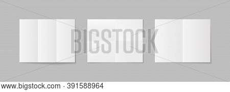 Paper Mockup With Folds. Poster A4 Isolated With Shadow. White Horizontal Sheets Mock Up. Set Of Bla