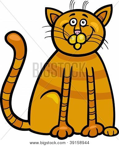 Cartoon Illustration of Happy Red Tabby Cat poster