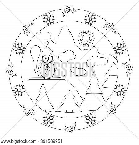Little beaver at the top of the mountain. Funny on his snowboard. Decor with holly and snowflake. Christmas mandala. Coloring page.Vector illustration.