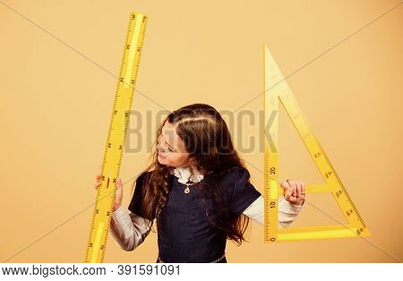 Stem School Disciplines. School Student Learning Geometry. Small Girl Back To School. Math Lesson. E