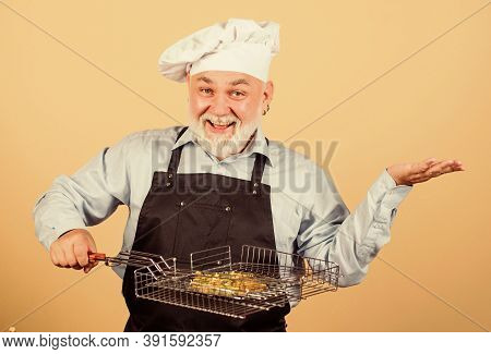 Perfect Summer Lunch. Senior Man In Chef Hat. Cook Men With Beard. Cooking Utensils For Barbecue. He