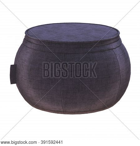 Round Pouf Fabric On A White Background. 3d Rendering