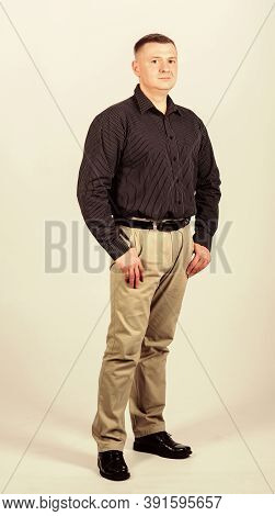 Man Regular Caucasian Appearance Wear Formal Clothes. Male Fashion Store. Businessman Lecturer Manag