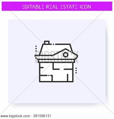 House Plan Line Icon. House Layout. Architecture Plan. Real Estate Agency, Housing Business Concept.
